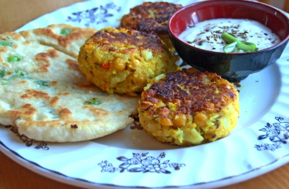 Learn how to make these Spicy Chickpea and Cauliflower Patties, with Spring Onion Chapati