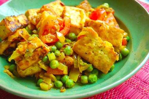 Tofu and Pea Curry Vegan Muttar Panner