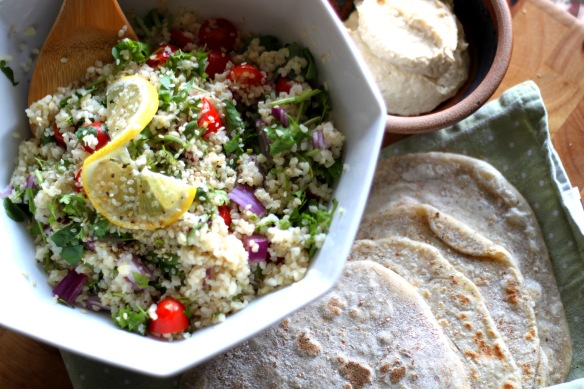 Tabbouleh with poppy seed flatbread