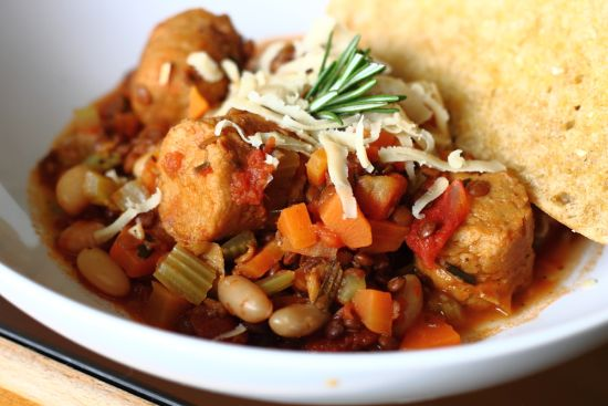 Italian Bean and Lentil Stew with Pepper Sausages 3