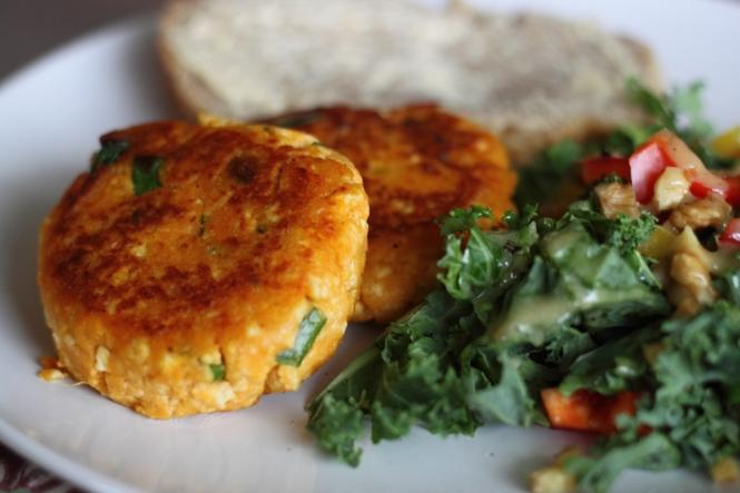 Smoked Sweet Potato & Tofu Burgers, with Kale, Walnut & Pepper Salad ...