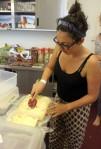 Ronny icing the GF Lemon Cake