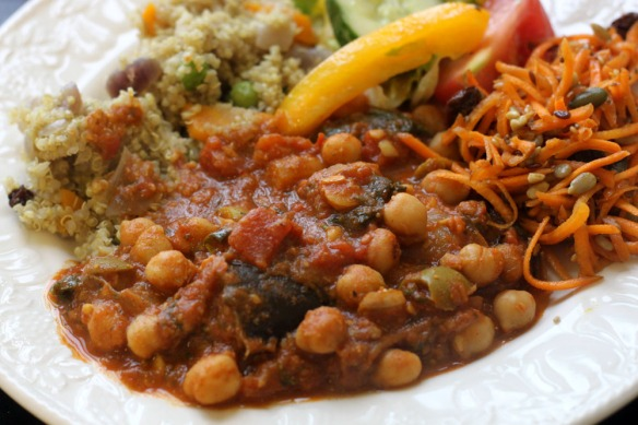 Moroccan Chickpea Stew with Quinoa and Salad