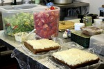 Cakes and salad