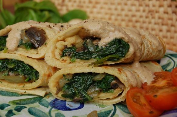 Vegan Savoury Pancakes with Spinach and Mushroom